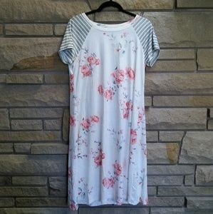 Forever 21 Dresses - White & pink floral grey stripe t-shirt dress